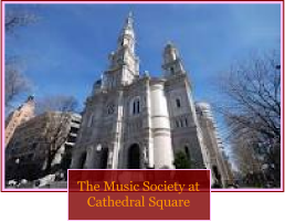"Image of cathedral exterior, with the caption ""The Music Society at Cathedral Square."""